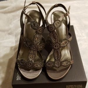 Kenneth Cole Reaction pewter beaded sandals